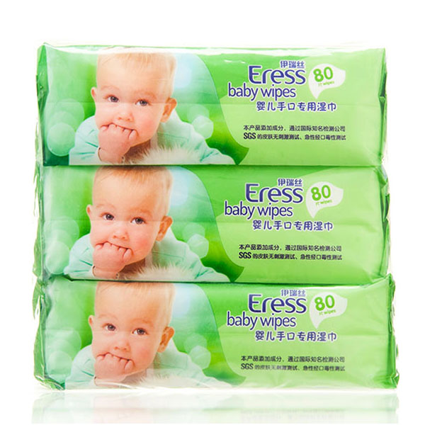 伊瑞丝Eress婴儿手口湿巾80片*3包植物配方不添加酒精香料柔暖厚实