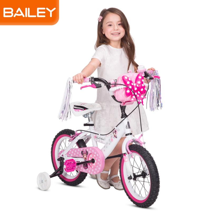 贝乐童车迪士尼系列米妮扁管白自行车12寸 白色