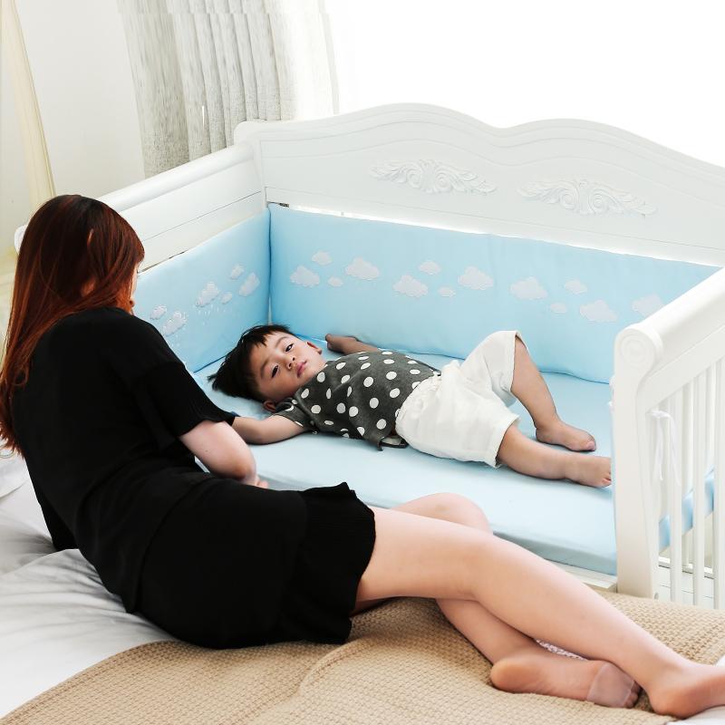 宝利源实木欧式婴儿床 白色