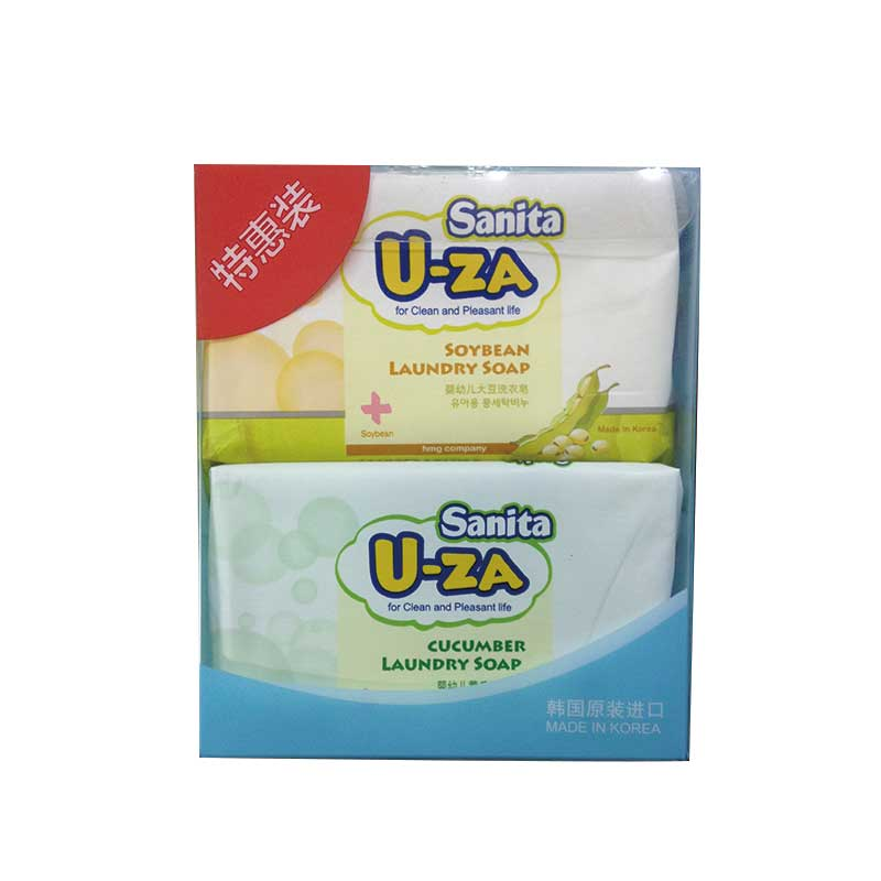 U-za韩国进口婴幼儿洗衣皂180g*4块(2块柚子+1块黄瓜+1块大豆)