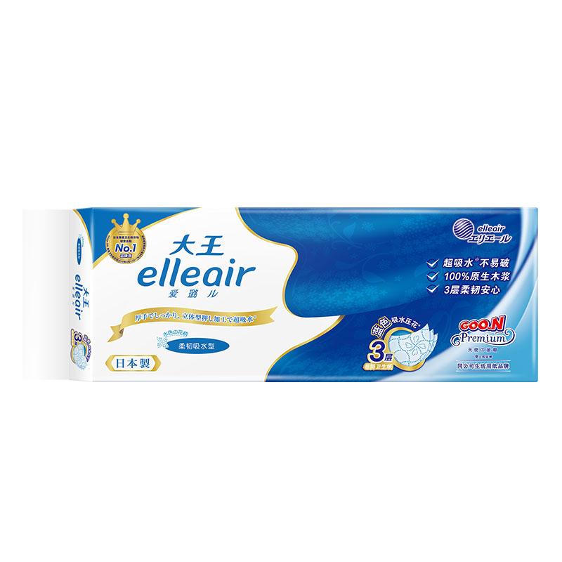 GOO.N--elleair?卷筒卫生纸柔韧吸水型蓝色压花10卷/提