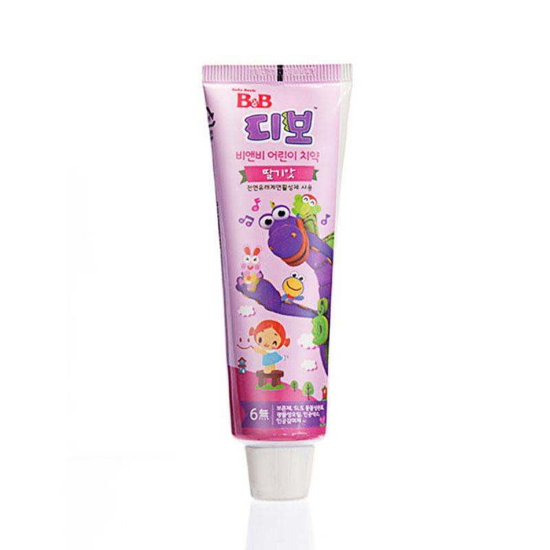保宁B&B韩国进口宁幼儿牙膏90g草莓味三岁以上宝宝适用