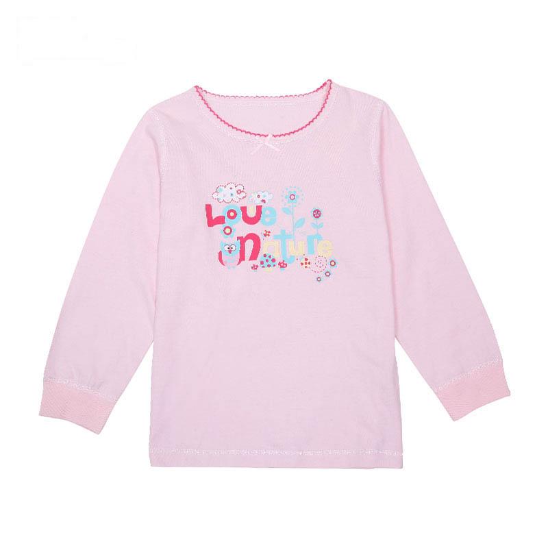 歌瑞凯儿A类女童粉色单面布圆领上衣