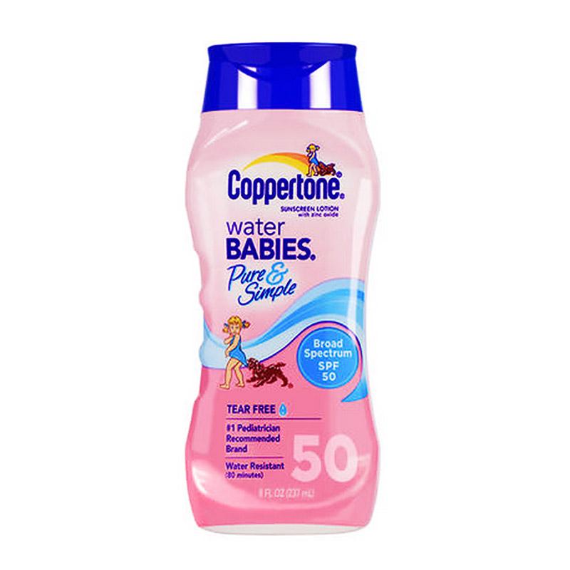 确美同(Coppertone)水宝宝纯净防晒霜 SPF50 237ml(温和滋润 防水防汗 隔离紫外线 PA   )(有效期至2020年10月31日)
