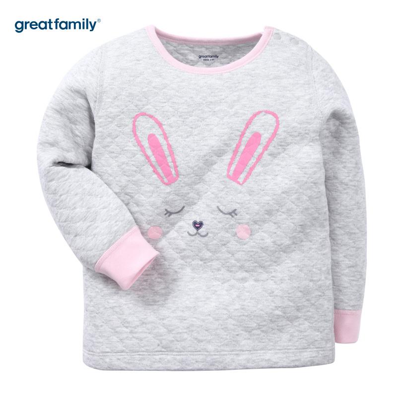 歌瑞家(Greatfamily)A类女童灰色加厚三保暖印花圆领内衣/家居服
