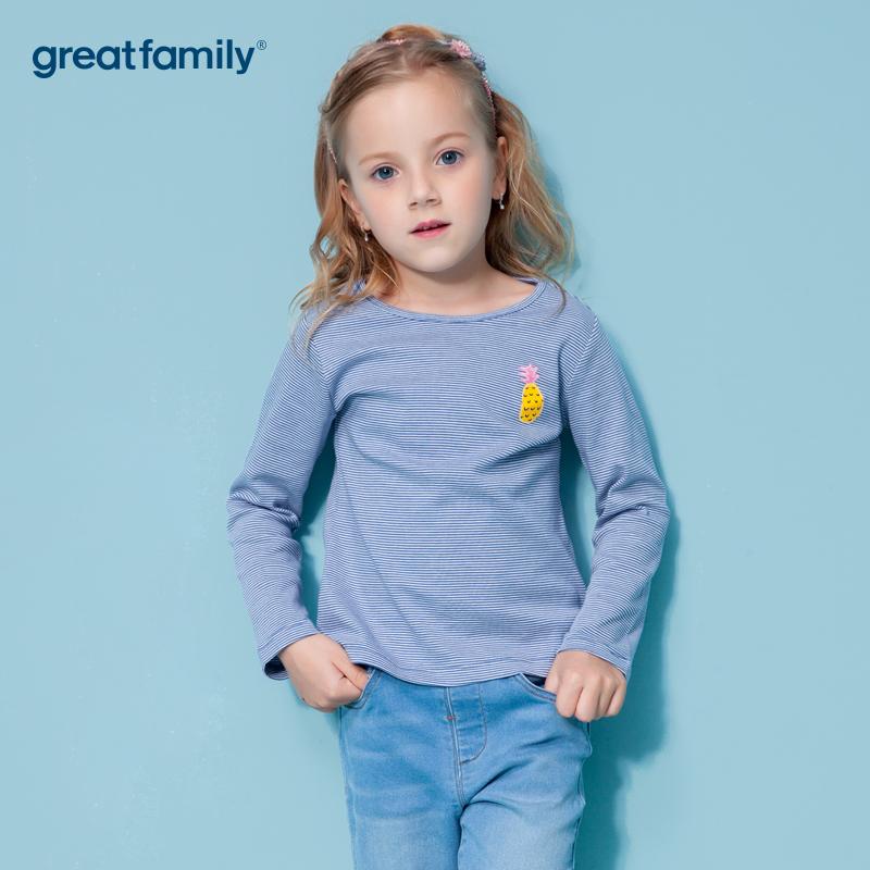 歌瑞家A类双面布女宝宝蓝色条T恤