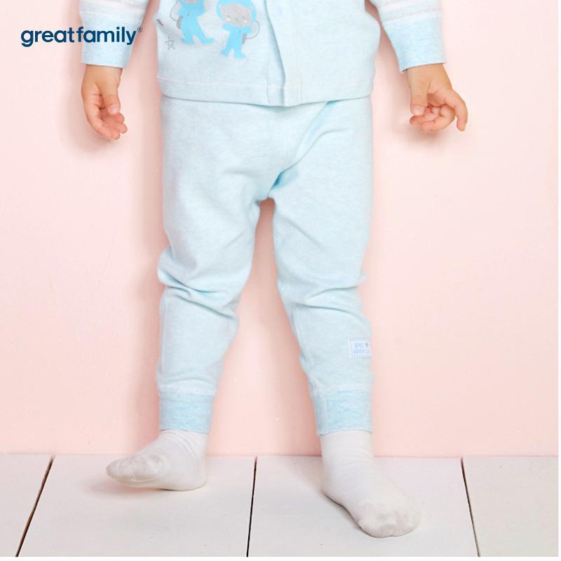 歌瑞家(Greatfamily)A类男宝宝舒绒蓝色高腰长裤