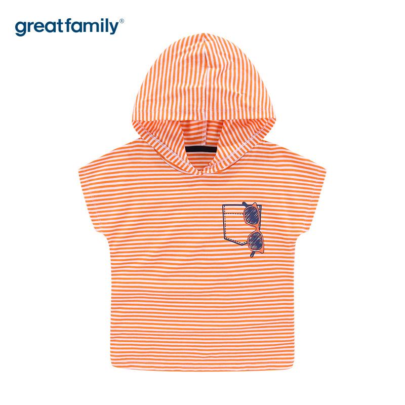 歌瑞家A类男童条纹连帽T恤短袖夏季