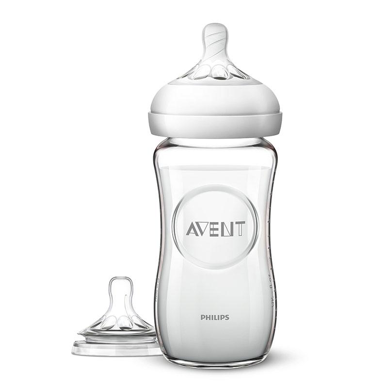 新安怡AVENT新安怡宽口径自然系列玻璃奶瓶新生儿套装(8oz奶瓶+质柔型六个月奶嘴)