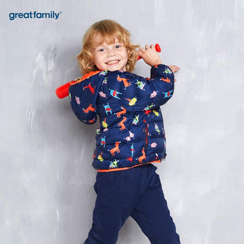 歌瑞家(Greatfamily)A类男童混色绗缝彩色印花连帽羽绒服