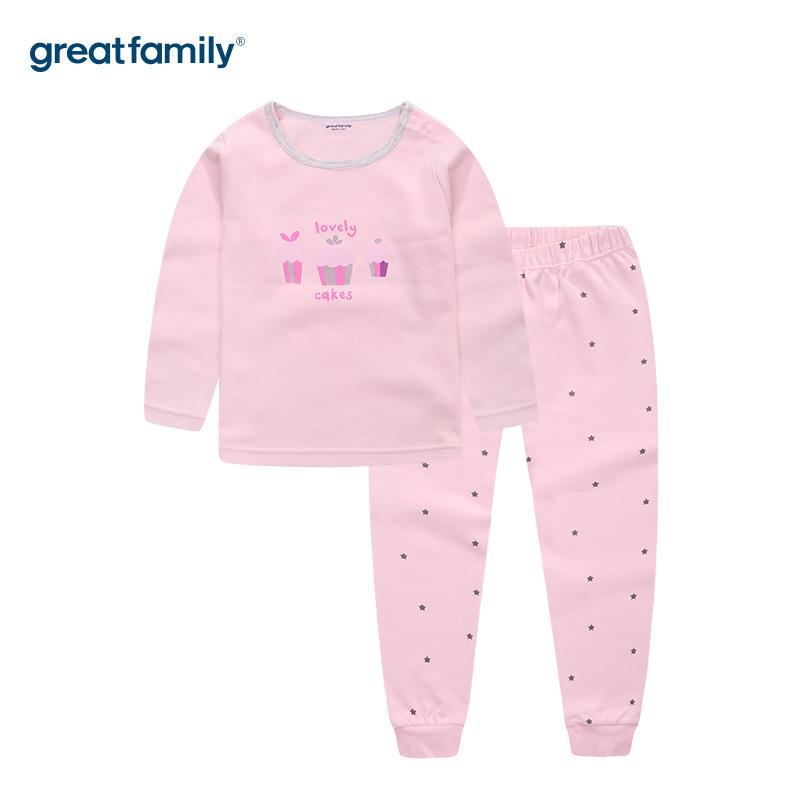 歌瑞家A类双面布女童粉色圆领长袖套装