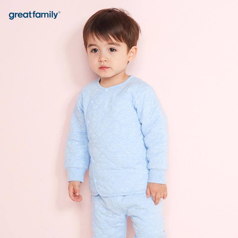 歌瑞家(Greatfamily)A类男宝宝夹棉蓝色偏襟上衣