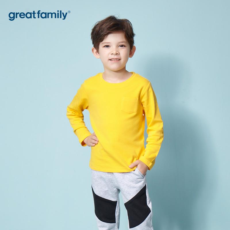 歌瑞家A类双面布男女童黄色T恤