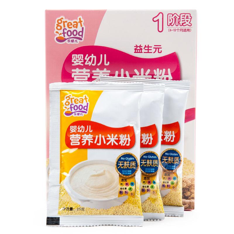 乐健儿GreatFood婴幼儿益生元营养小米粉(无麸质)(6-12月)225克/盒