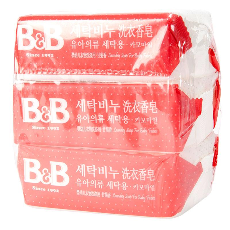 保宁B&B韩国进口洗衣香皂(甘菊香味)200g*3块