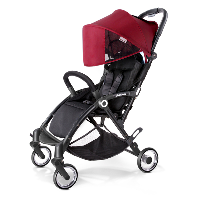 Pouch婴儿推车超轻便可坐可躺便携式伞车折叠婴儿车儿童手推车 A32 红色