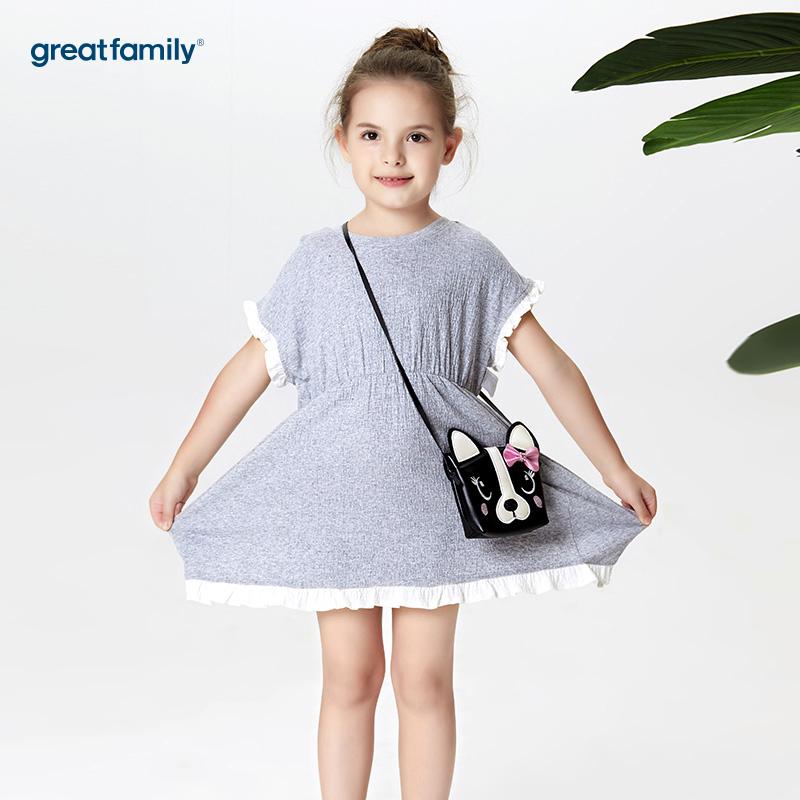 歌瑞家A类酷帅宝贝灰色女童针织连衣裙