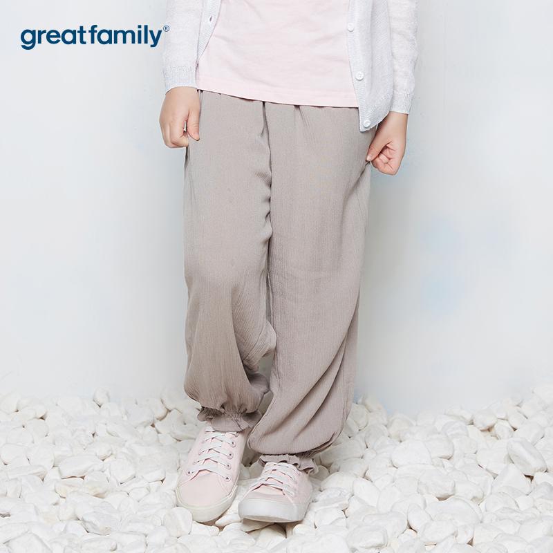 歌瑞家A类酷帅宝贝灰色女童梭织裤