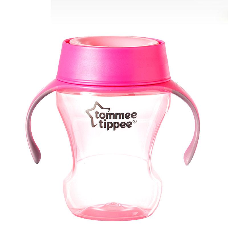 汤美星(TommeeTippee)360°成长杯帮助宝宝自我训练饮水餐时训练杯粉色230ml