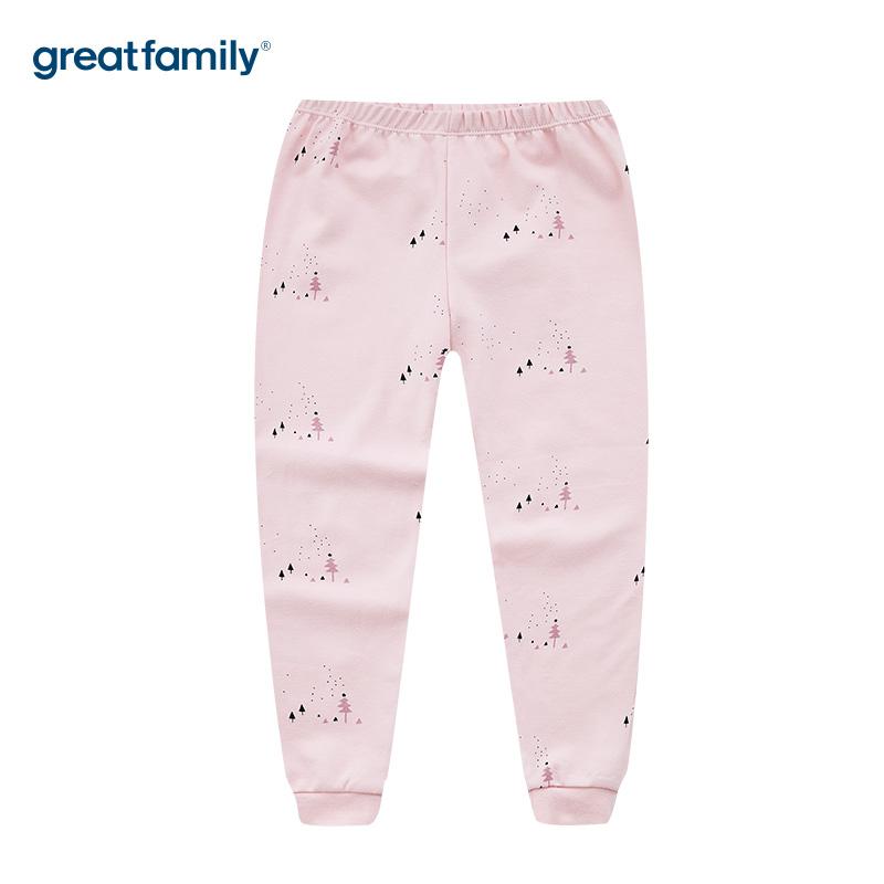 歌瑞家A类双面布女童粉色家居长裤