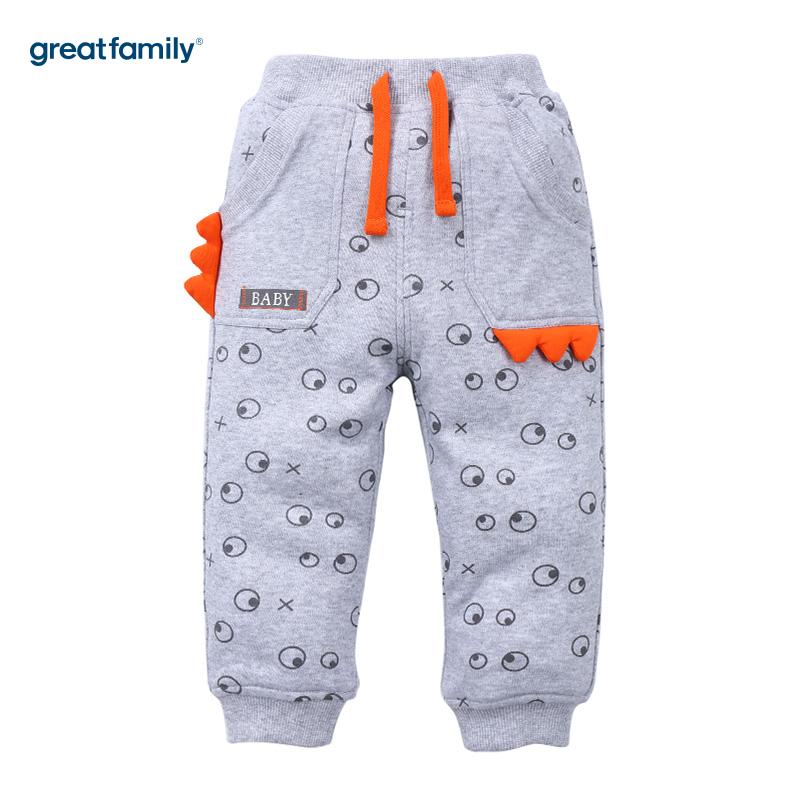 歌瑞家(Greatfamily)A类男宝宝灰色小恐龙图案夹棉针织裤/卫裤