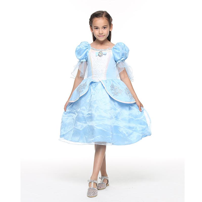 迪士尼灰姑娘喇叭袖连衣裙浅蓝