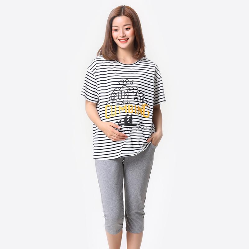 歌瑞家greatfamily(孕外装)条纹短T恤条纹