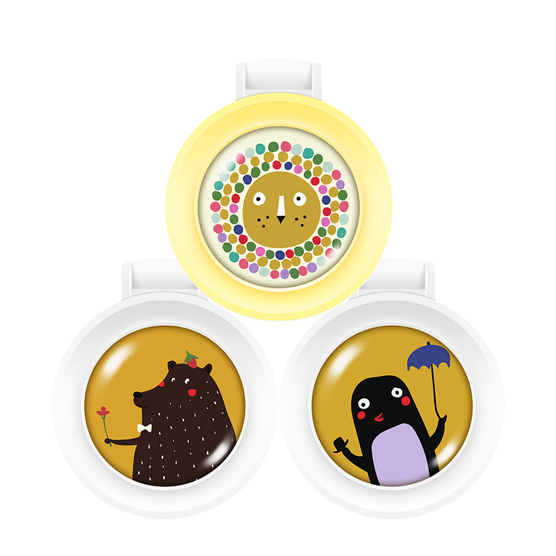 法国Barropeddi草本防护驱蚊扣 3只装组合二(彩虹狮+胖胖鸟+草莓熊)