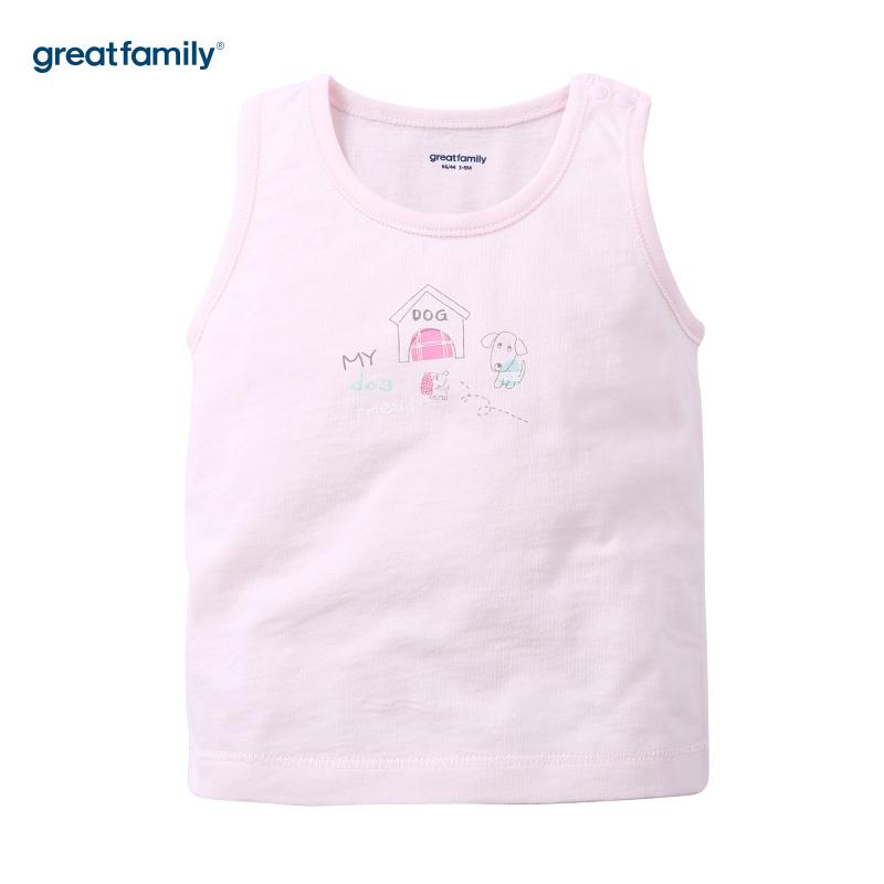 歌瑞家(新)A类单面布粉色女背心婴儿背心