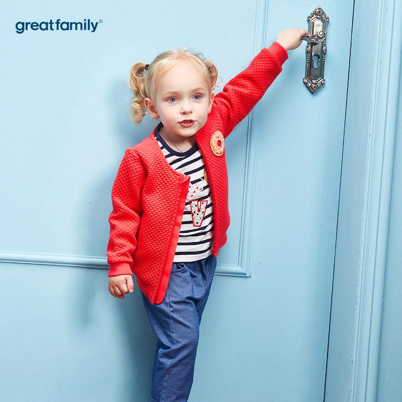 歌瑞家(Greatfamily)A类女宝宝红色夹丝布提花圆领外套