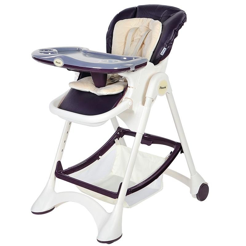 pouch儿童餐椅简约宝宝椅可折叠吃饭椅欧式便携餐桌椅座椅 k05 紫色
