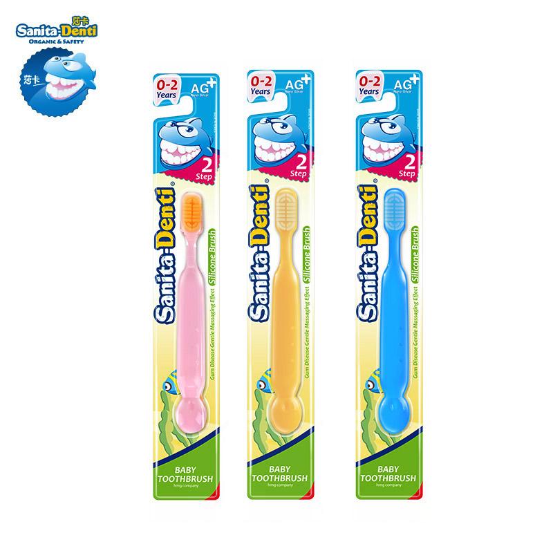 Denti莎卡韩国进口婴幼儿纳米银硅胶牙刷2段