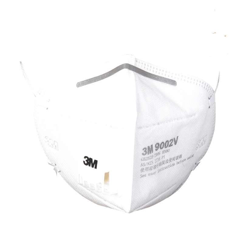 3M防雾霾防PM2.5带阀口罩3只9002VKN90折叠式防粉尘骑行口罩头戴式