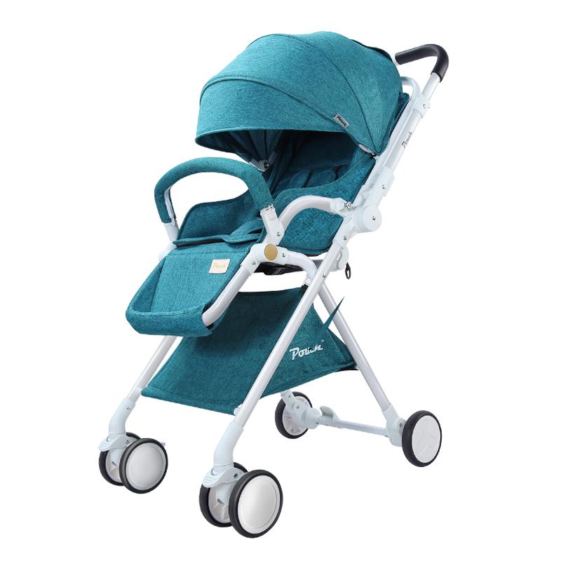 Pouch 帛琦 婴儿推车轻便可携带高景观可坐可躺双向避震伞车A06墨绿色
