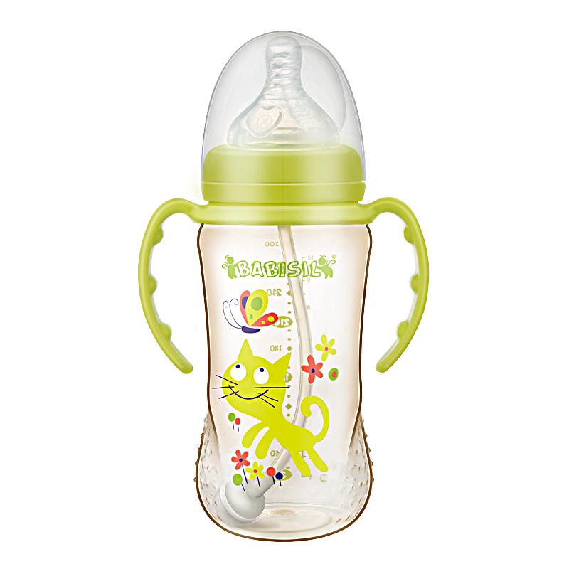 贝儿欣10安宽口径PPSU吸管奶瓶-粉绿(多彩系列)300ml/个