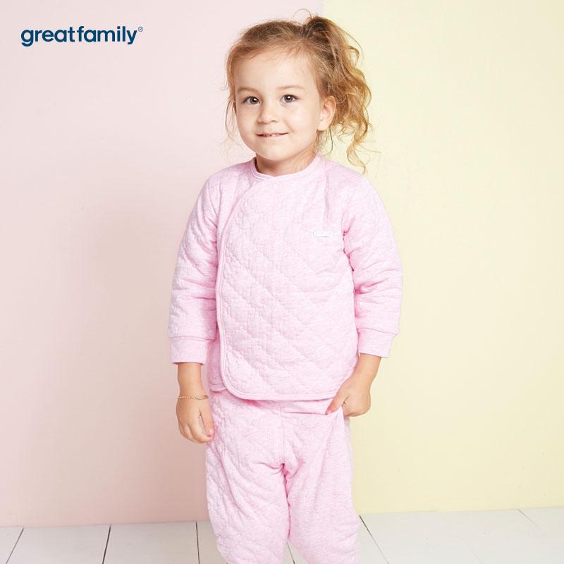 歌瑞家(Greatfamily)A类女宝宝夹棉粉色偏襟上衣