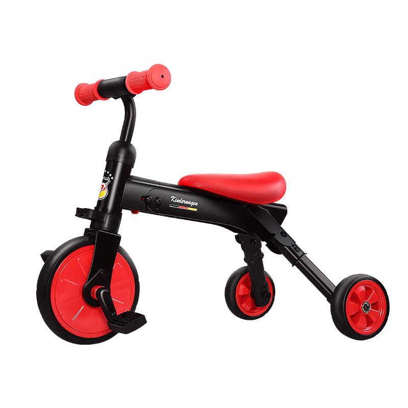 pouch儿童折叠三轮车骑行滑行二合一免充气EVA轮轻便减震安全骑行 红色