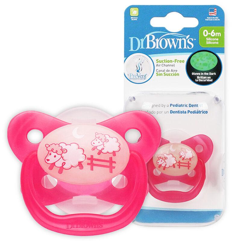 布朗博士新--夜光舒睡安抚奶嘴0-6个月红色(0-3岁)1个/盒