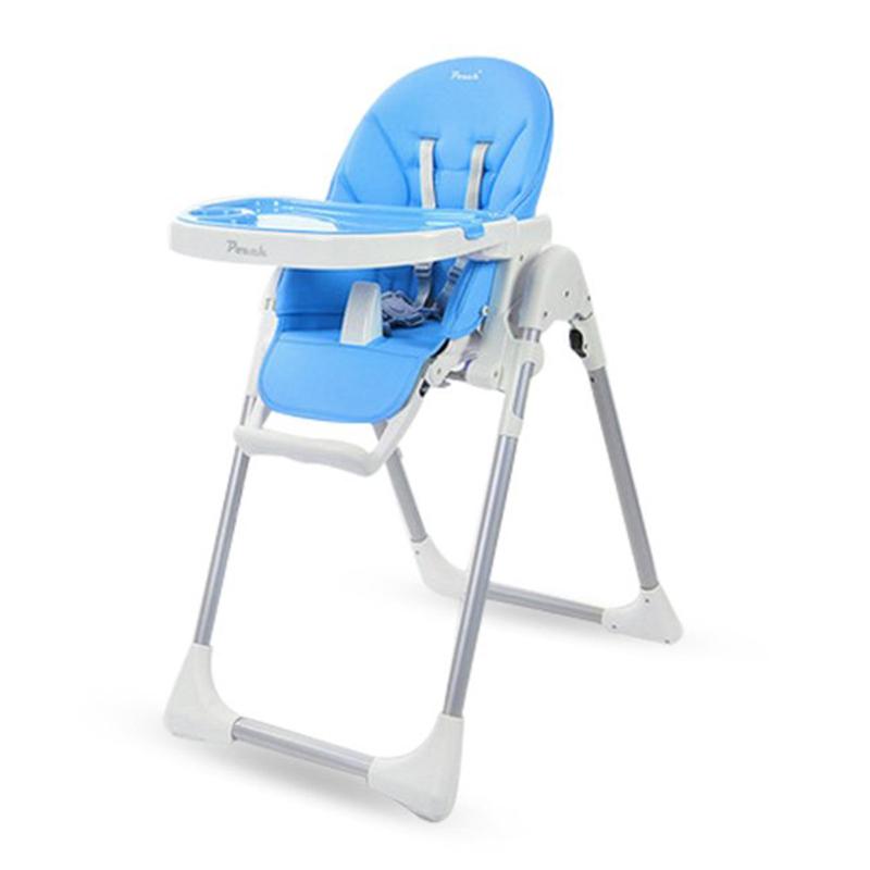 pouch儿童餐椅多功能便携可折叠婴儿餐椅宝宝餐椅儿童吃饭餐桌椅蓝色