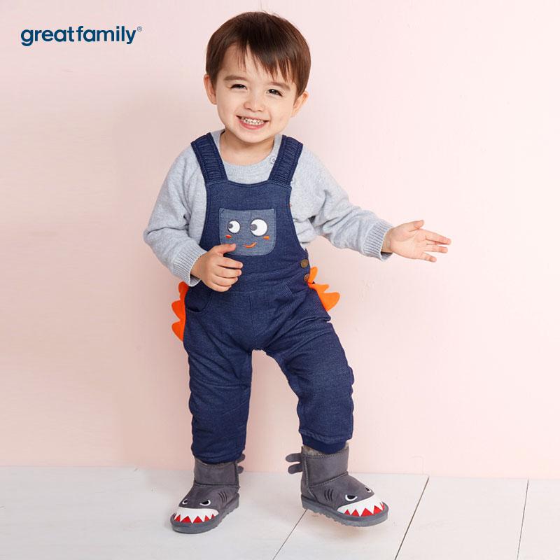 歌瑞家(Greatfamily)A类男宝宝蓝色背带针织牛仔裤