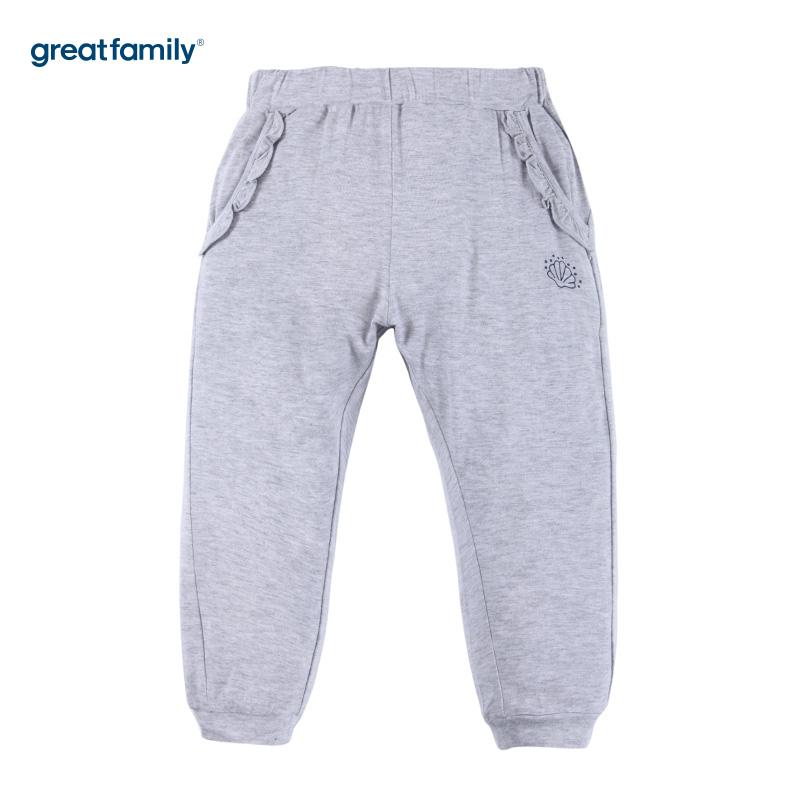 歌瑞家A类经典校园灰色女童针织裤