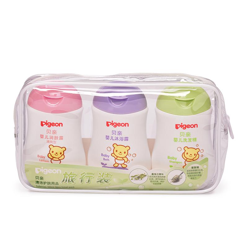 贝亲Pigeon清洁护肤旅行装100ml*3含婴儿润肤露婴儿沐浴露婴儿洗发精便携装