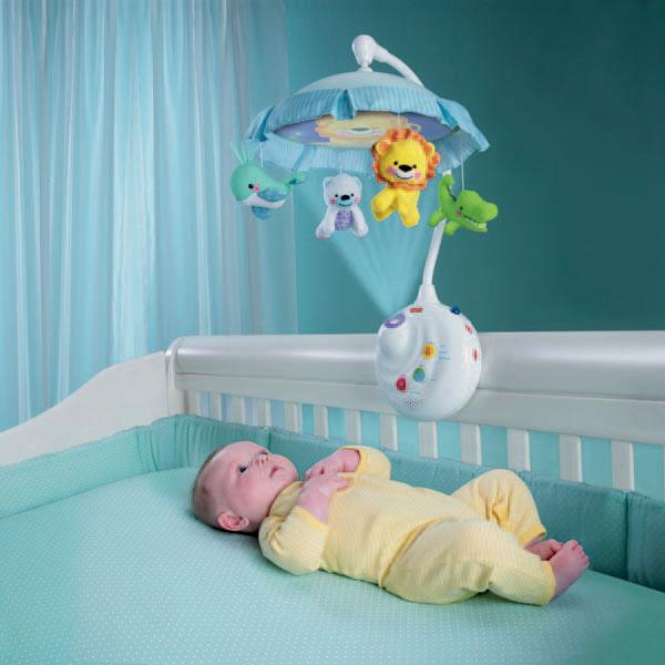 FisherPrice费雪牌可爱动物两用声光床铃带幻灯投影遥控婴儿玩具