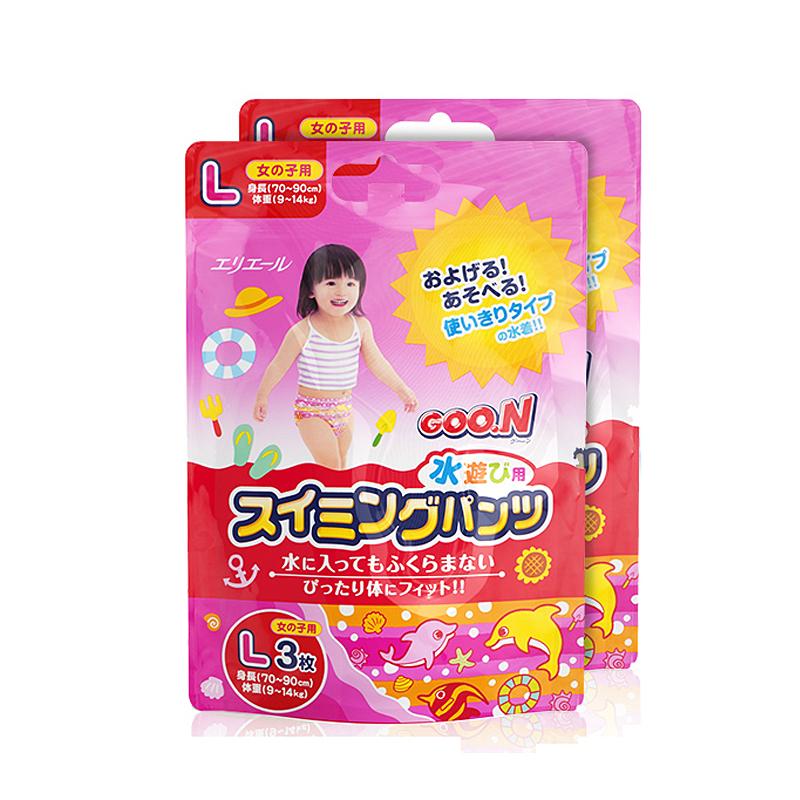 GOO.N短裤式游泳裤系列纸尿裤(女宝宝)L3片