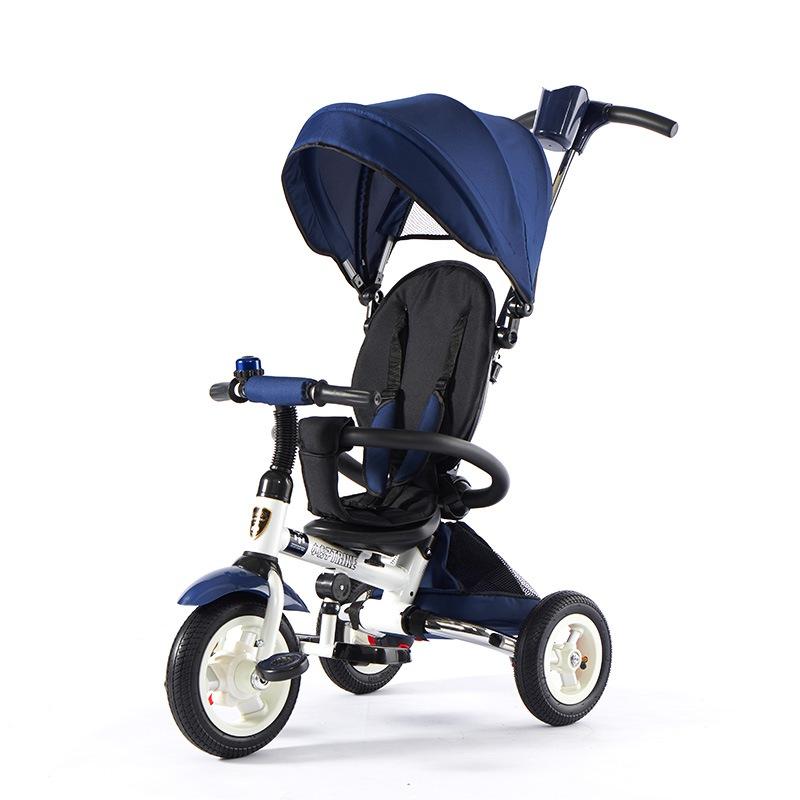 小虎子儿童三轮车可折叠1-3-6岁婴儿手推车小孩自行车宝宝脚踏车T300 蓝色