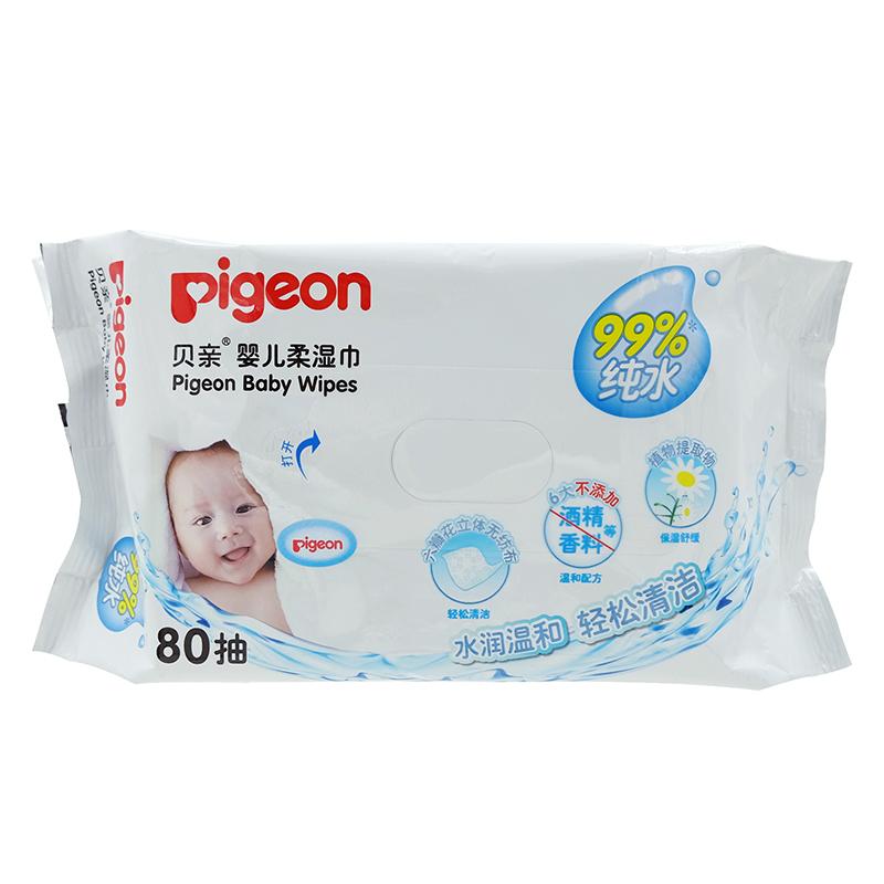 贝亲Pigeon婴儿柔湿巾80抽无酒精香料