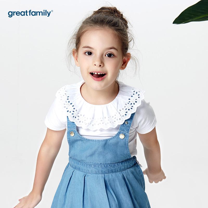 歌瑞家A类经典校园白色女童针织T恤