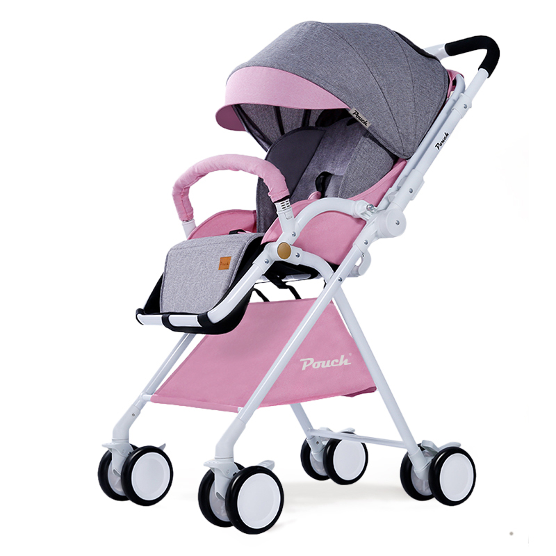 Pouch 帛琦 婴儿推车轻便可携带高景观可坐可躺双向避震伞车A06拼接粉灰