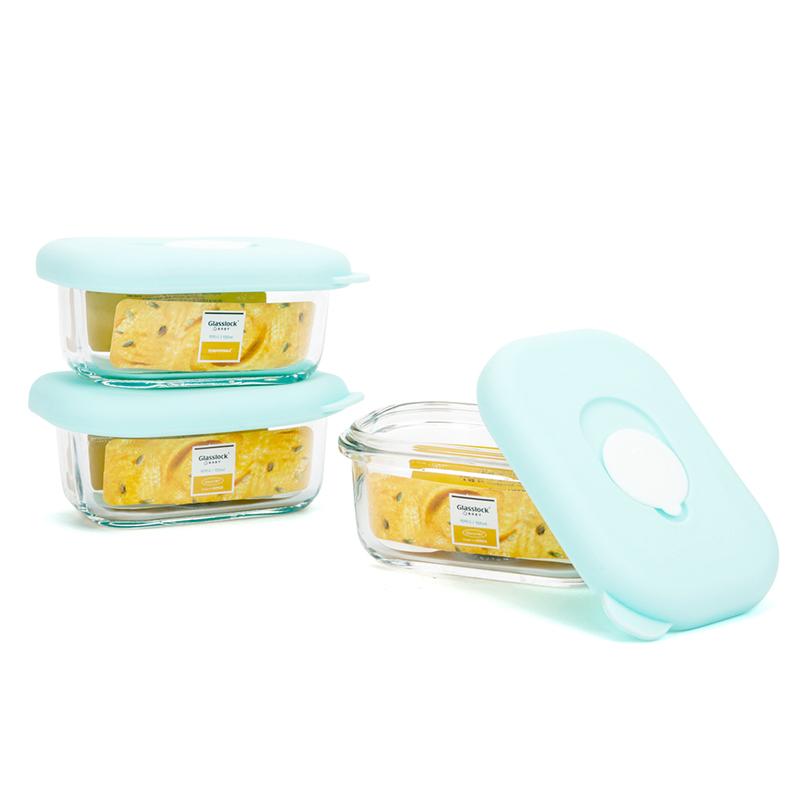 韩国 Glasslock Baby网长方形辅食盒(绿色微笑盖子)3个盒