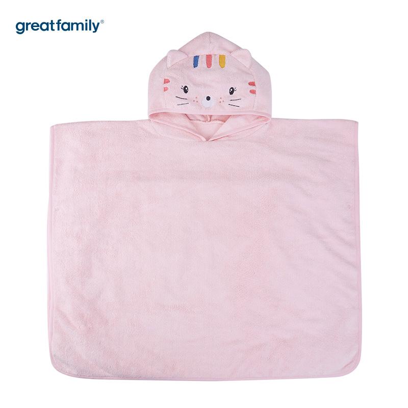 歌瑞家A类粉色女宝宝卡通造型浴袍